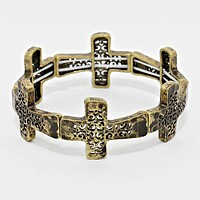 Vintage Metal Cut Out Cross Stretch Bracelet