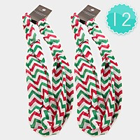 12 PCS - Chevron Pattern Stretch Headbands