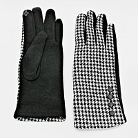 Fleece Lined Houndstooth Check Button Gloves