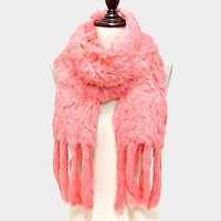 Genuine Rabbit Fur Scarf with Fur Fringes
