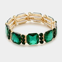Emerald Cut Glass Crystal Evening Stretch Bracelet