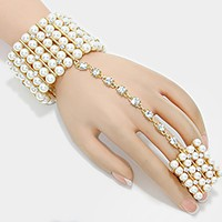 Multi Row Pearl Stretch Evening Hand Chain Bracelet
