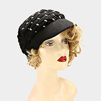 Studded Knit Visor Hat