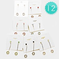 12-Pairs Crystal Ring Dangle Earrings