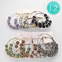 12-Pairs Extra Large Crystal Disco Ball Bead Hoop Earrings