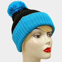 Pom Pom Color Block Fold Over Knit Beanie Hat
