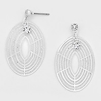 Crystal Accented Oval Metal Cut out Earrings