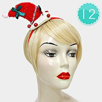 12 PCS - Mini Christmas Santa Claus Hat Headbands with