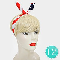 12 PCS - AMERICAN FLAG BUNNY FLEX WIRE HEADBANDS