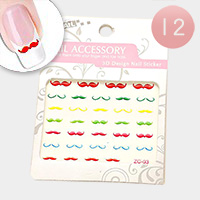 24 Sets - Mustache Nail Stickers