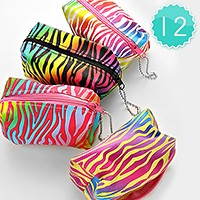 12 PCS - Colorful Zebra Coin Pouch Bags