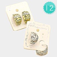 12-Pairs Teddy Bear Head Embossed Metal Half Hoop Earrings