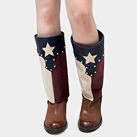 1-Pair Lace up American Flag Leather Boot Toppers
