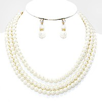Triple Layer Pearl Strand Necklace