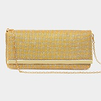 Metal Detail Crystal Evening Clutch Bag with Metal Chain Strap