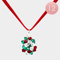 12 PCS - Christmas Bead Pendant Necklaces