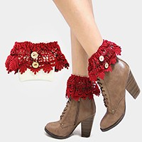 1-Pair Wooden Button Lace Boot Toppers