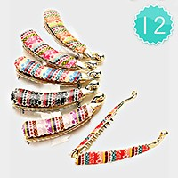12 PCS - Aztec Pattern Banana Hair Clips