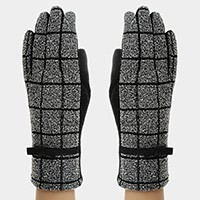 Fleece Lined Leather Bow Detail Square Pattern Gloves