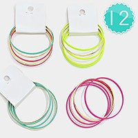 12 Sets - Colorful Stack Bangle Bracelets