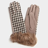 Fleece Lined Houndstooth Check Gloves with Rabbit Fur