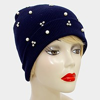 Crystal Pearl Studded Fold Over Beanie Hat