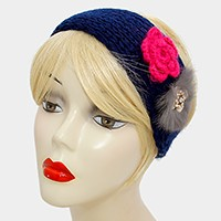 Button up Knit Flower Earmuff Headband