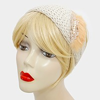 Button up Faux Fur Pearl Detail Knit Earmuff Headband