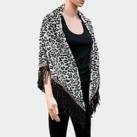 Leopard Pattern Fur Square Shawl Scarf / Open Poncho with Suede Fringes