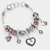 Multi Beaded Heart & Baby Footprint Charm Bracelet