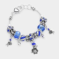 Multi Beaded Snowflake Bear Charm Bracelet
