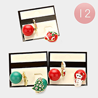 12 Sets Assorted Enamel Christmas Stud Earrings