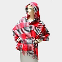 Houndstooth Plaid Check Hooded Shawl Open Poncho