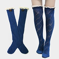 Diamond Pattern Button Lace Knee-High Cotton Stocking Socks