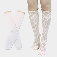 Diamond Pattern Lace Knee-High Stocking