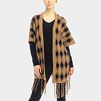 DIAMOND PATTERN FRINGE TRIM PONCHO SHAWL