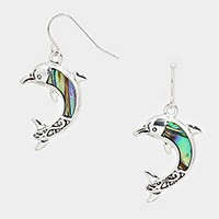 ABALONE DOLPHINE DANGLE EARRINGS