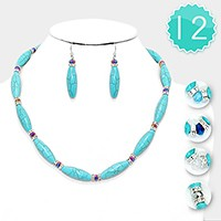 12 PCS - Bead & Crystal Accented Turquoise Bullet Strand Necklaces