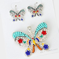 Colorful Beaded Butterfly Pendant Set