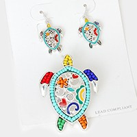 Colorful Beaded Turtle Pendant Set