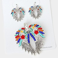 Colorful Beaded Wings Pendant Set