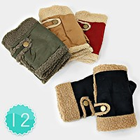 12-Pairs Button Detail Suede Fingerless Gloves