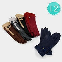 12-Pairs Fleece Lined Button Detail Gloves