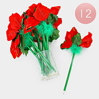 12 PCS - Christmas Flower Ball Point Pens