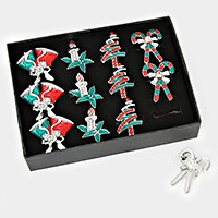 12 PCS - Enamel Christmas Rings
