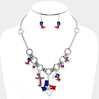 American Flag Texas & Cross Charm Link Necklace