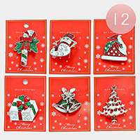 12 PCS - Crystal Enamel Christmas Brooches