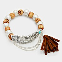 Metal Feather Accented Suede Tassel Stretch Beaded Bracelet