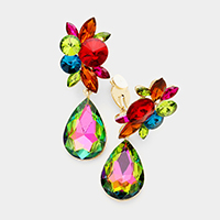 Floral Teardrop Crystal Clip on Evening Earring