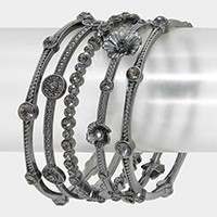 5 PCS - Crystal Station Flower Stack Bracelets